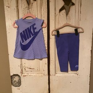 Sweet purple Nike leggings and matching tee 12M